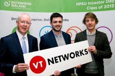 Barry Egan (Enterprise Ireland West Director), Mark Bannon & Will Ferguson (founders of VT Networks)