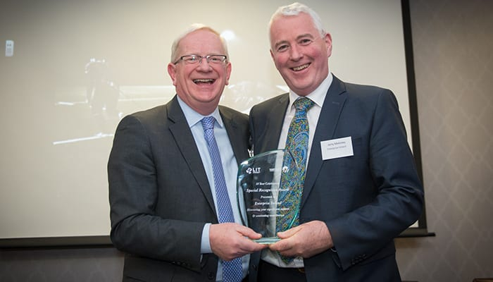 Enterprise Ireland Recognition Award From Left to Right: Vincent Cunnane - President, LIT, Jerry Moloney - Regional Director Midwest Enterprise Ireland. Photo credit Shauna Kennedy