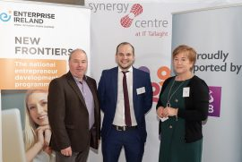 David McDonnell, Mark Baldwin from start up company Globopod and Shelly O'Brien from AIB Tallaght at the New Frontiers Phase 2 Showcase Event