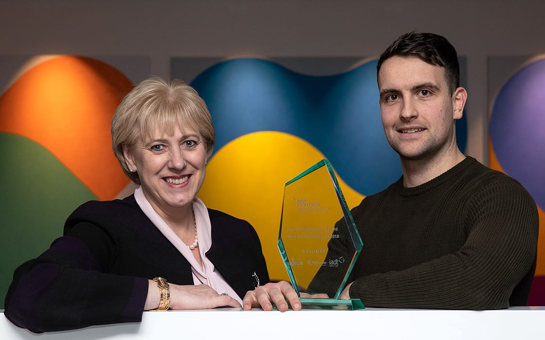 Lead Entrepreneur Award Winner Daniel Nugent with Minister Heather Humphreys