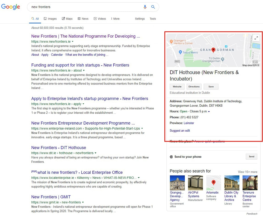 Google My Business results in search - New Frontiers
